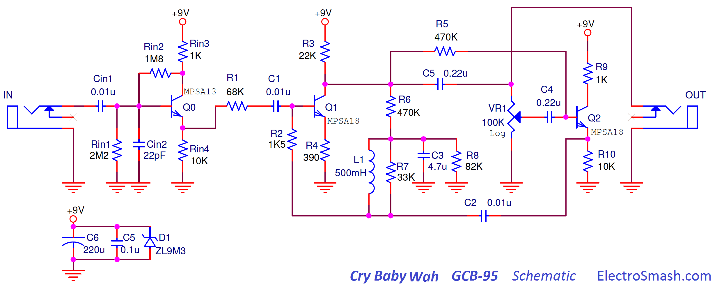 electrosmash dunlop crybaby gcb 95 circuit analysis the dunlop cry baby gcb 95 schematic