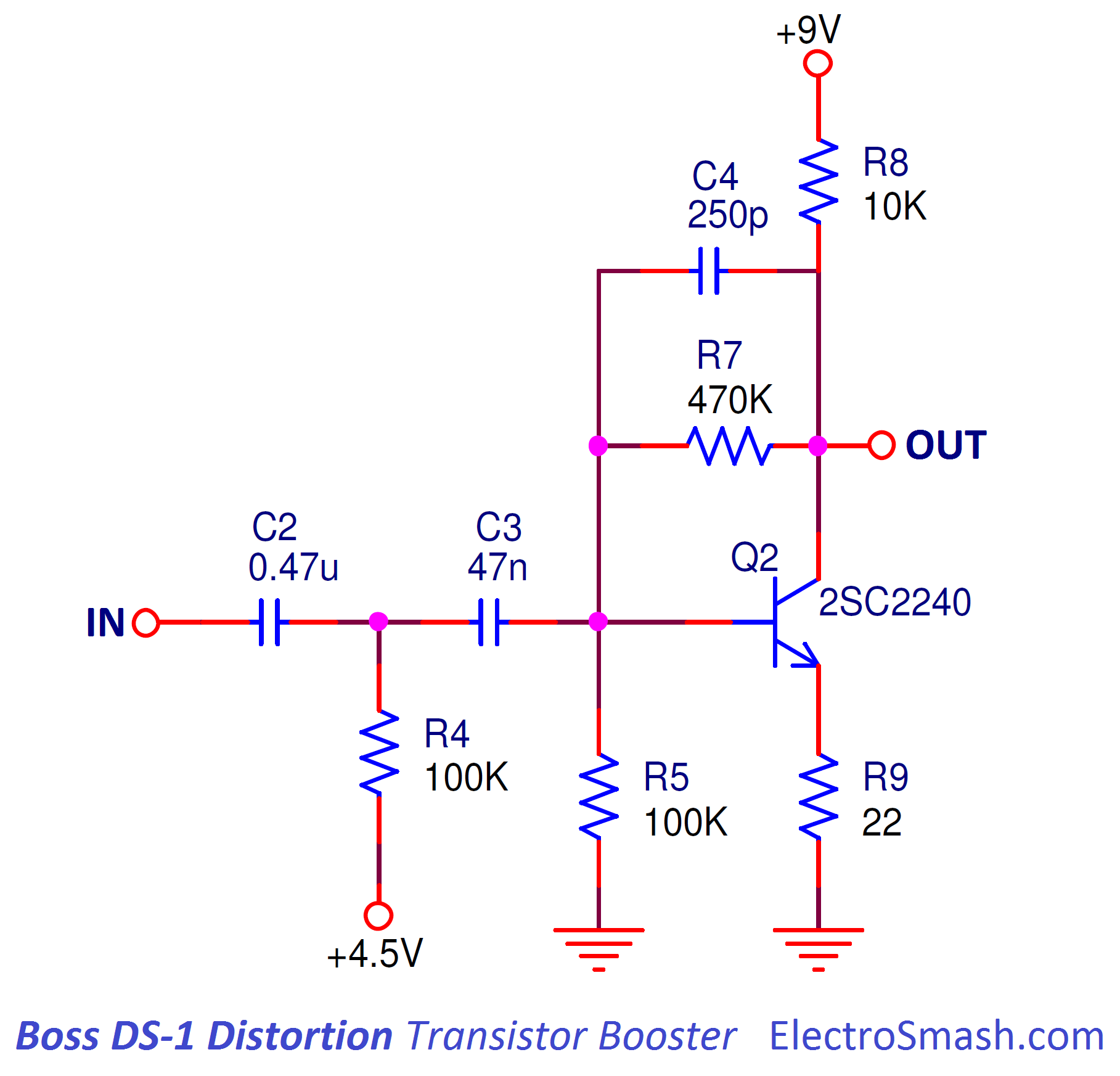 boss ds1 distortion transistor booster