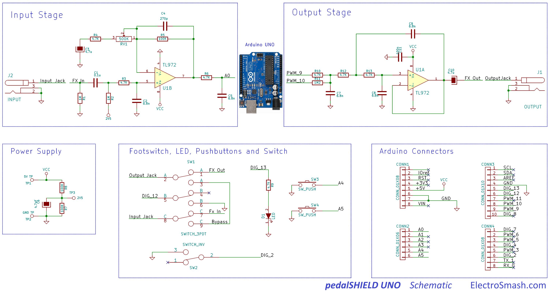 Electrosmash pedalshield uno arduino guitar pedal