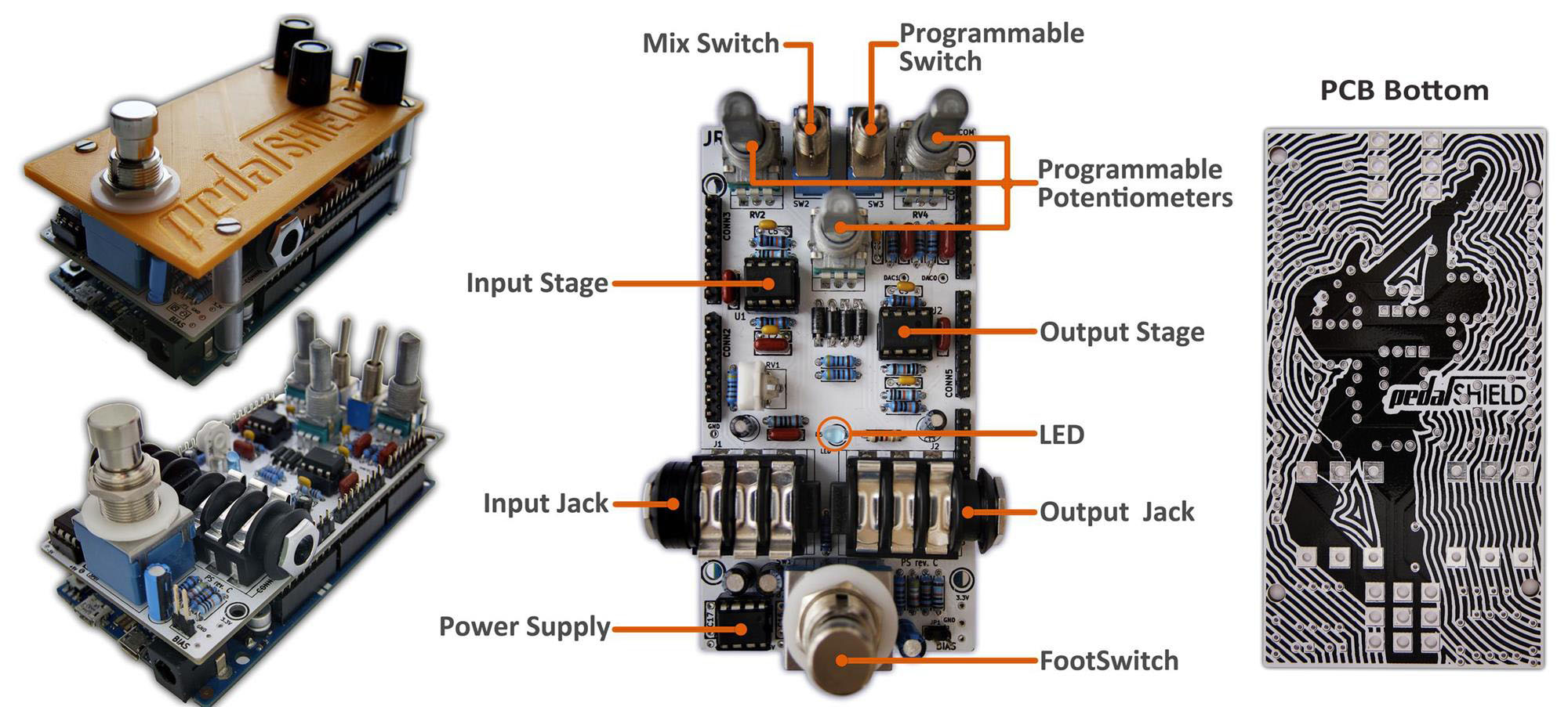 Pedalshield Arduino Guitar Pedal on arduino shield schematic diagram