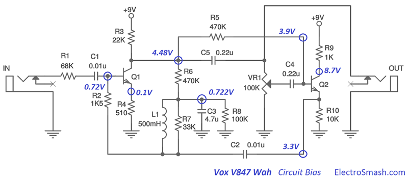 electrosmash vox v847 analysis vox v847 circuit bias