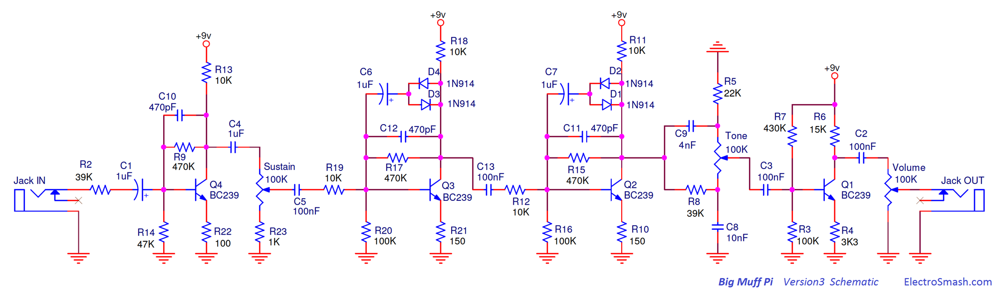 Electrosmash Selected Schematics Bass Amp Wiring Diagram Big Muff Pi Version 3