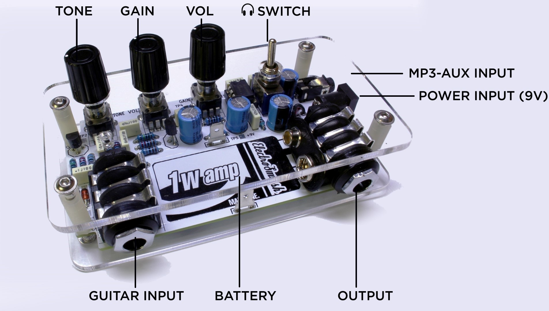 Guitar Headphone Amp With Stereo Auxiliary Input Schematic Diagram