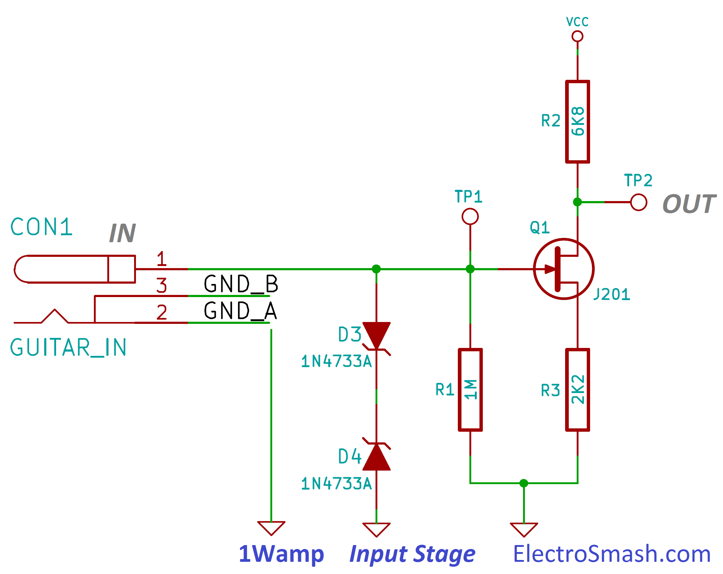 Electrosmash 1wamp Electroc Guitar Amplifier Lowpower With Digital Volume Control Amp Circuit Diagram Jfet Input Stage