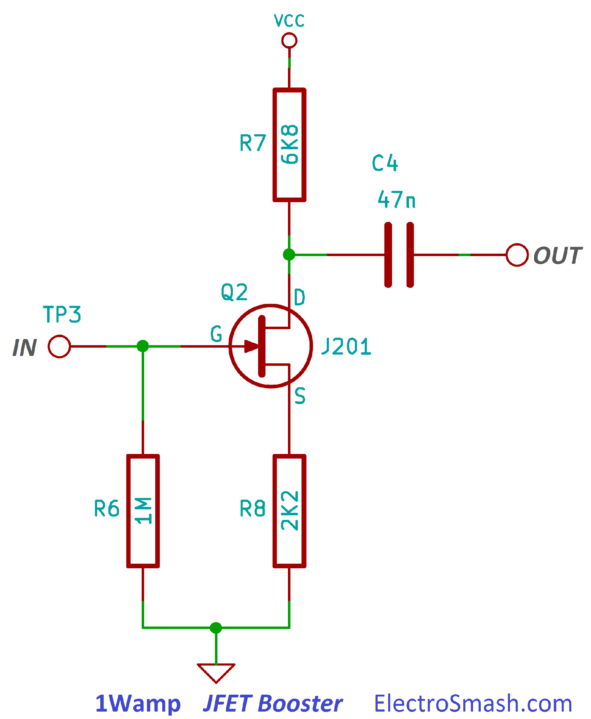 1w on amplifier schematic