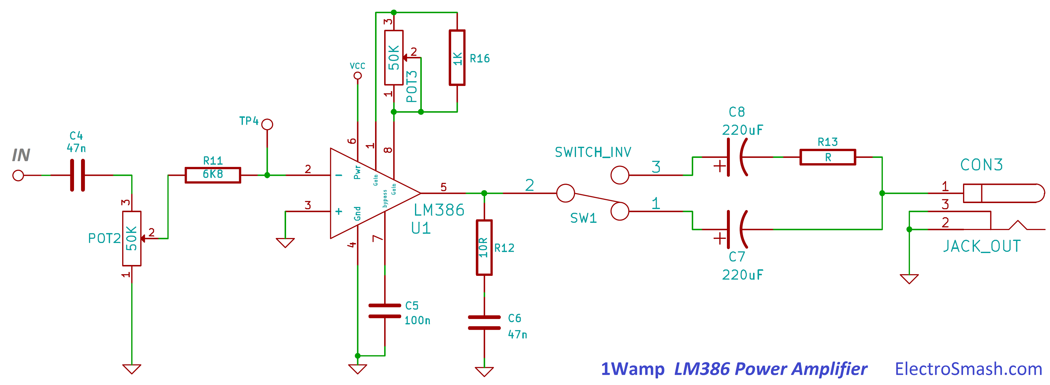 Electrosmash 1wamp Electroc Guitar Amplifier End Pin Wiring Diagram Lm386 Power Circuit
