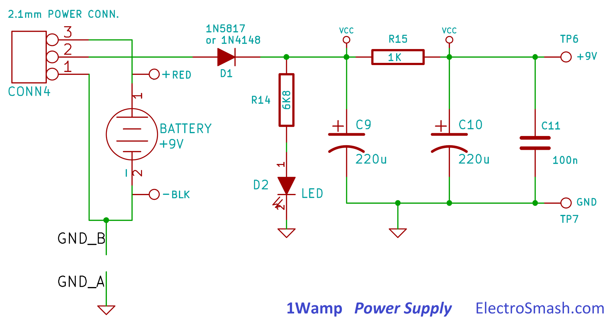 Electrosmash 1wamp Electroc Guitar Amplifier Audio Power Schematics 4w 8 Watt Amp Supply Stage