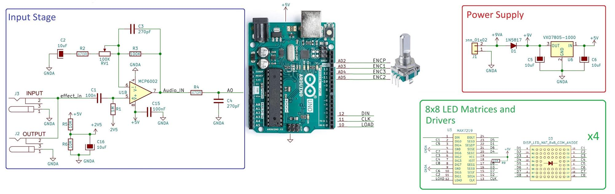Arduino Audio Meter Schematic simple