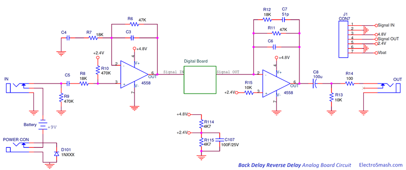 Back Talk Reverse Delay Analog Board Circuit