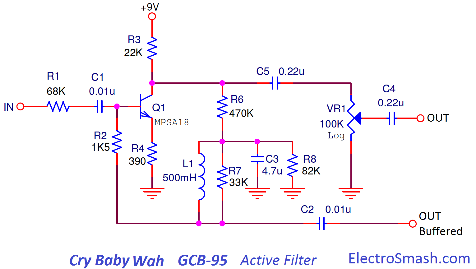 Electrosmash Dunlop Crybaby Gcb 95 Circuit Analysis Organ Schematic Diagrams On Guitar Amp Wiring Diagram Layout Active Filter