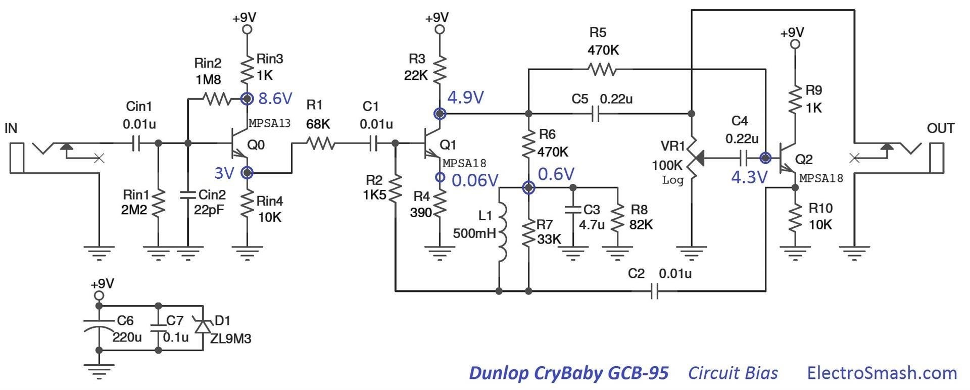 cry baby wah gcb 95 bias electrosmash dunlop crybaby gcb 95 circuit analysis crybaby gcb-95 wiring diagram at eliteediting.co