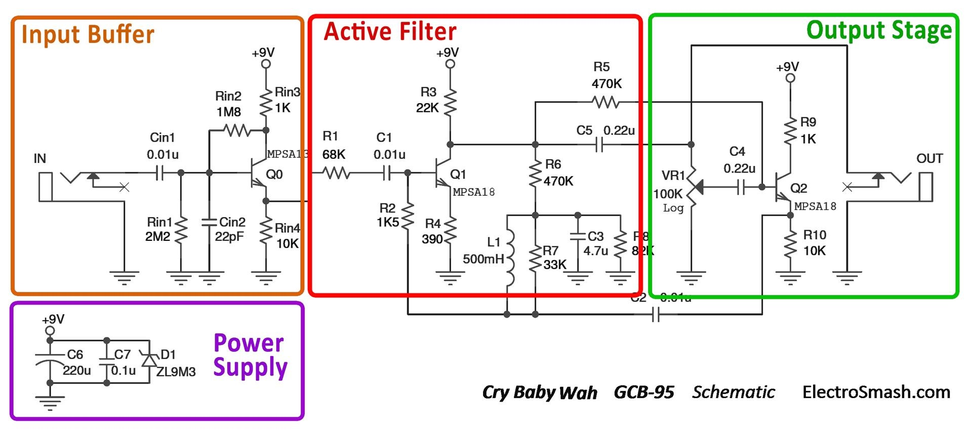cry baby wah gcb 95 schematic parts electrosmash dunlop crybaby gcb 95 circuit analysis