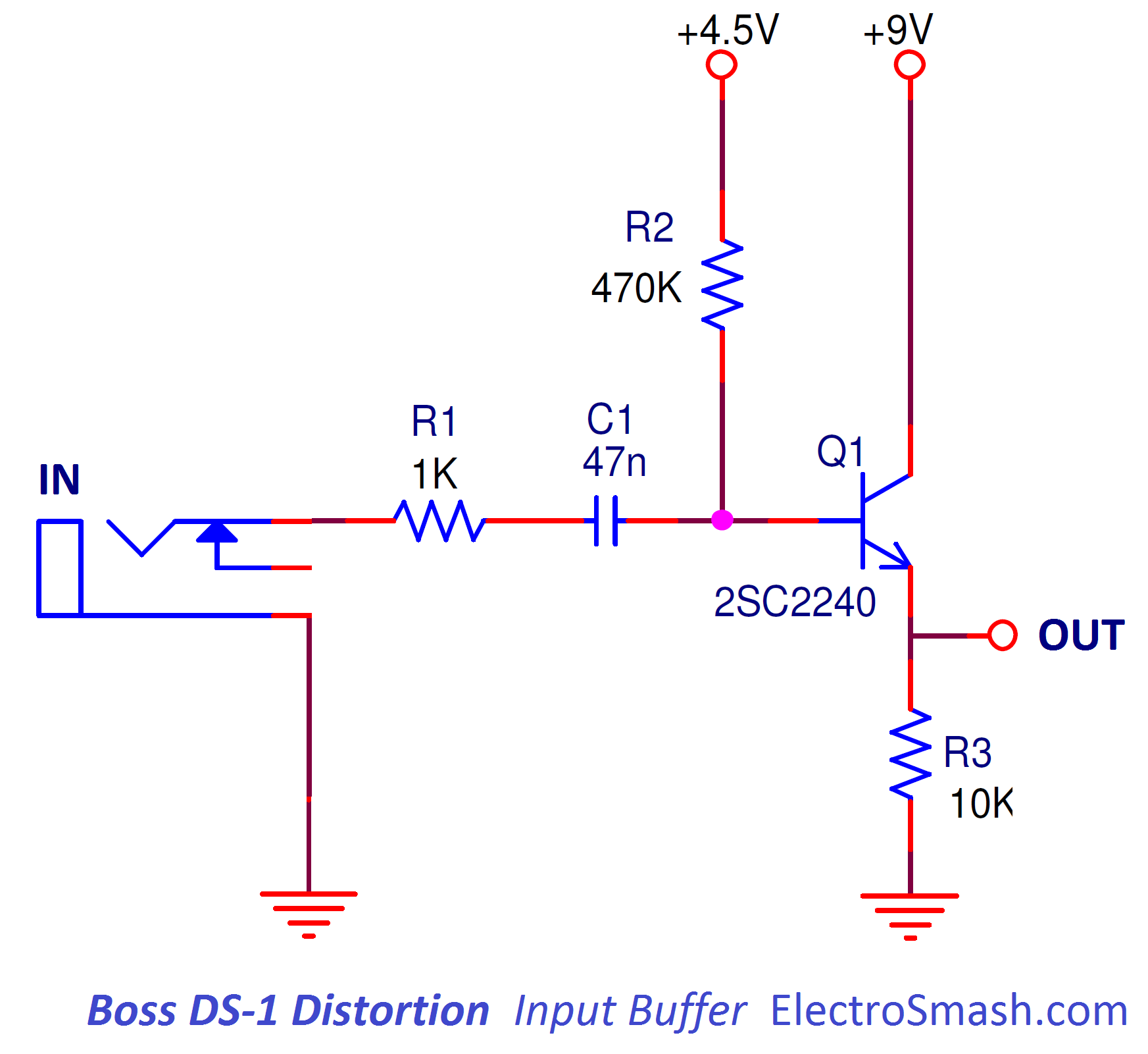 Electrosmash Boss Ds1 Distortion Analysis Op Amp Is The Buffer In This Power Supply Circuit Required Input
