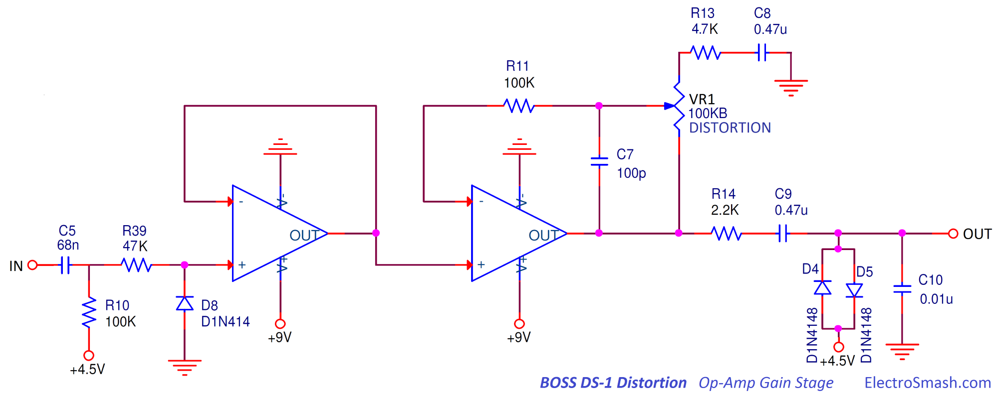 Electrosmash Boss Ds1 Distortion Analysis 3pdt Wiring Diagram Op Amp Gain Stage