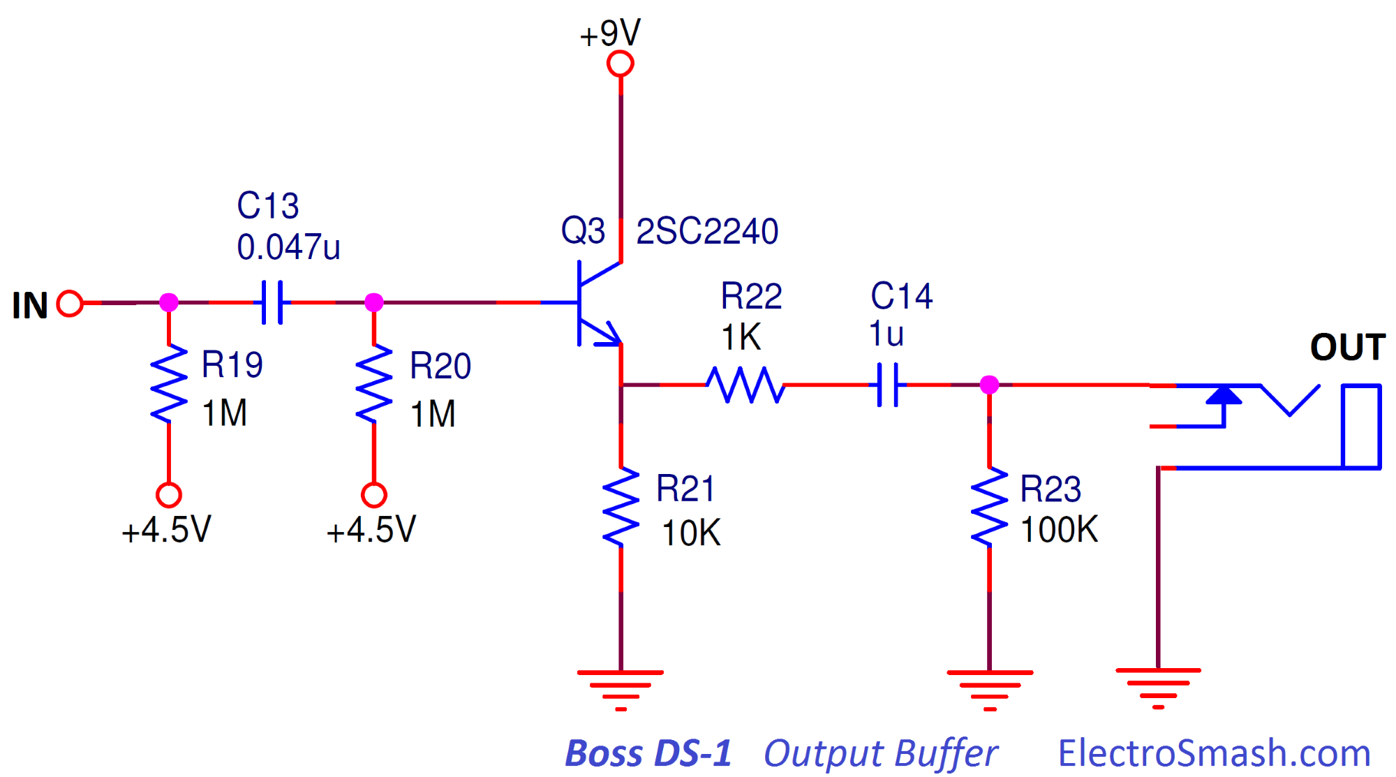 Electrosmash Boss Ds1 Distortion Analysis 3pdt Wiring Diagram Output Buffer