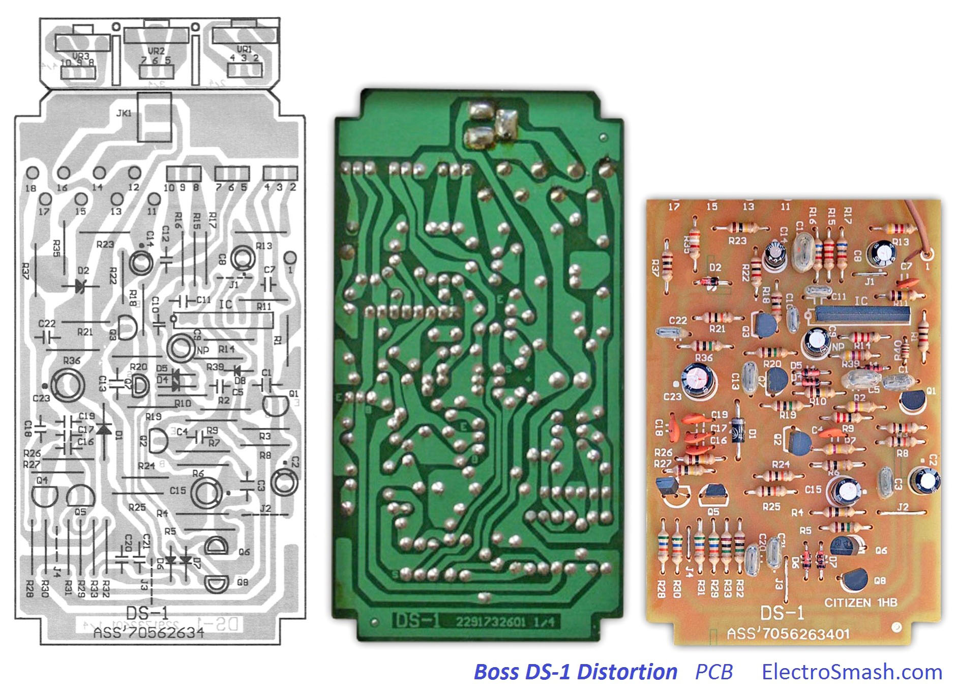 Electrosmash Boss Ds1 Distortion Analysis Dc 10 Wiring Diagram Pcb Small