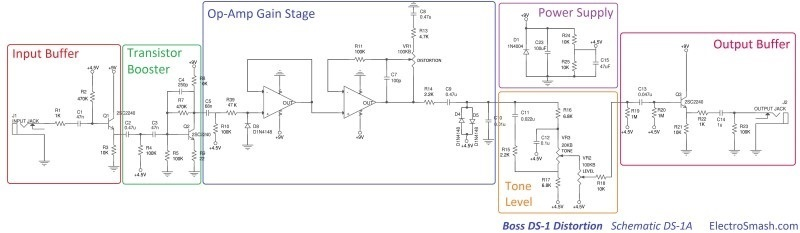 boss ds1 distortion schematic parts small
