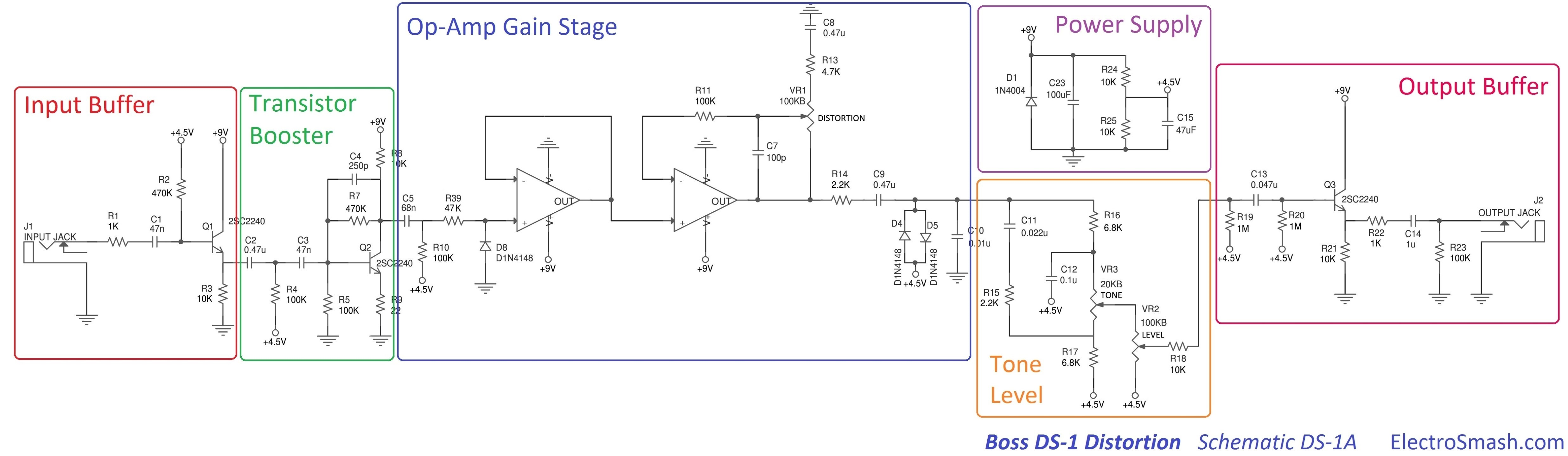 boss ds1 distortion schematic parts electrosmash boss ds1 distortion analysis wiring diagram for distortion pedal at fashall.co