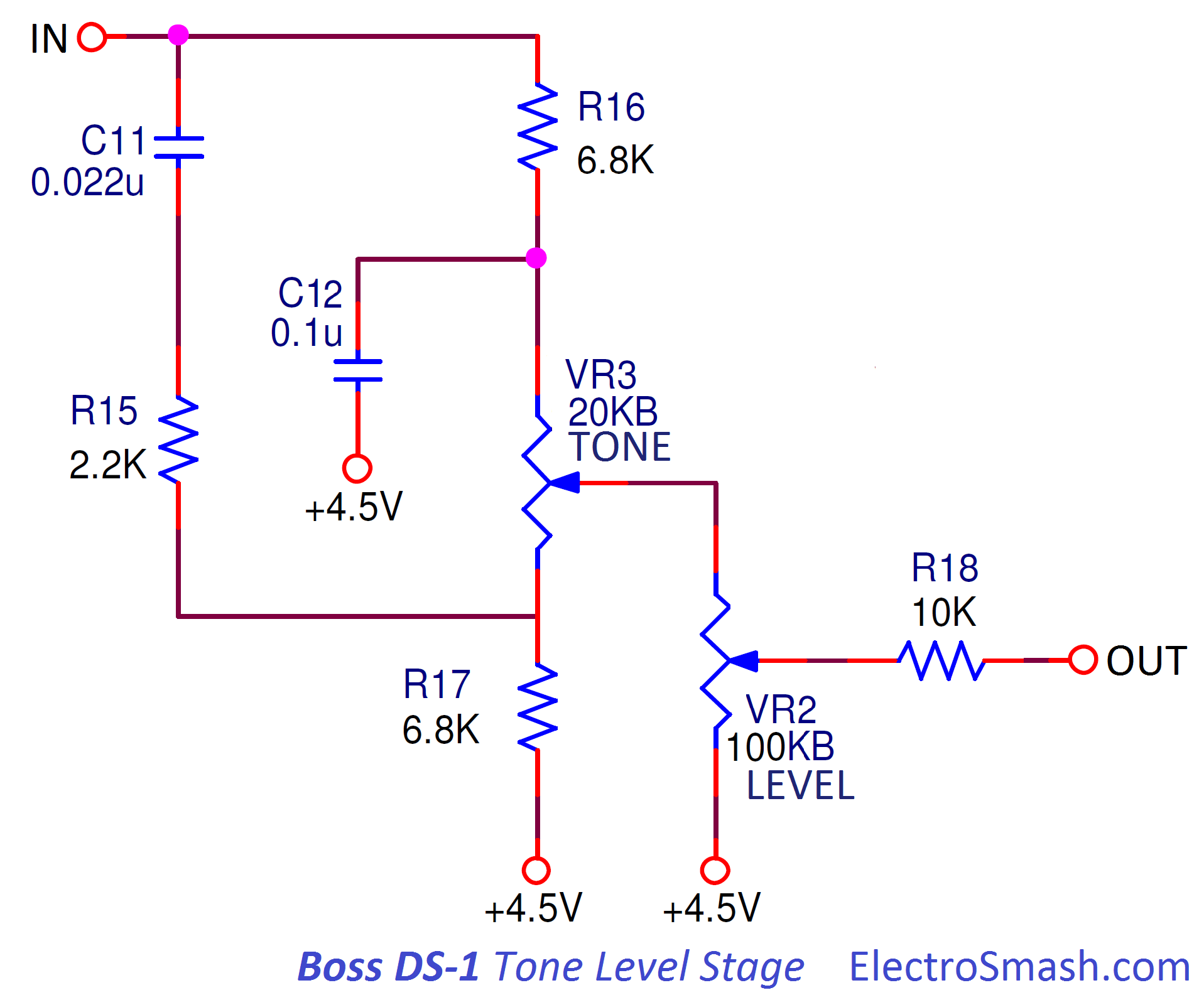 Electrosmash Boss Ds1 Distortion Analysis Example Ac Transistor Circuit Of The Mid Frequency Response Tone Level Stage