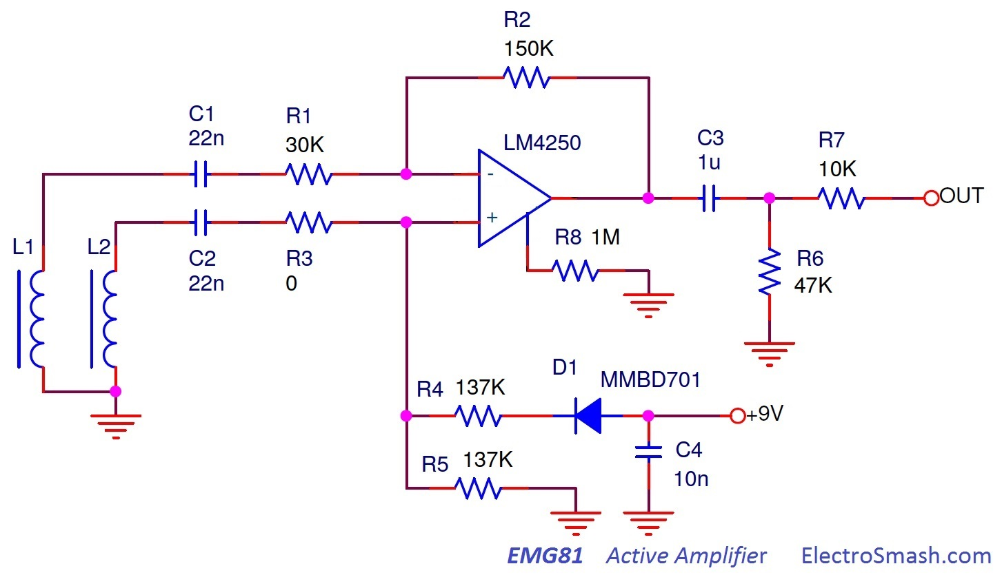 The EMG81 active pickup circuit is a simple Differential Amplifier: EMG81 Circuit  Schematic