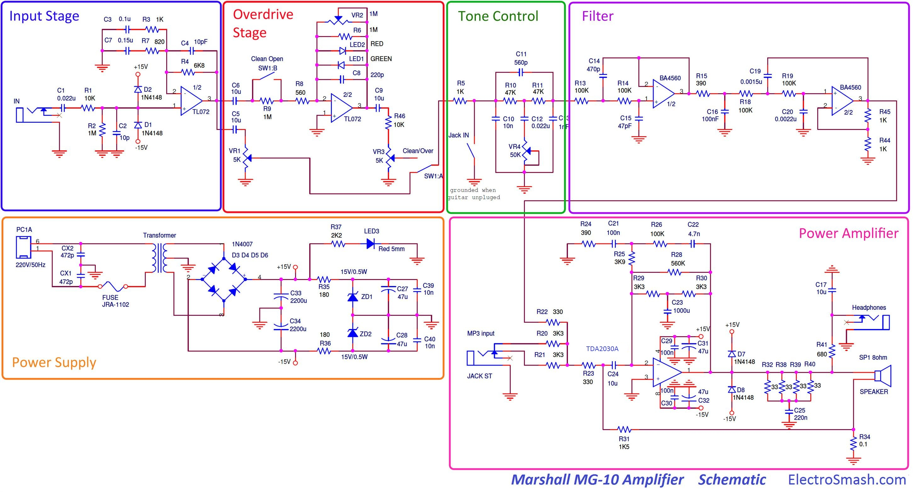 Electrosmash Marshall Mg10 Analysis Boss Subwoofer Wiring Diagram 2 Subwoofers 1 Amp Schematic Parts