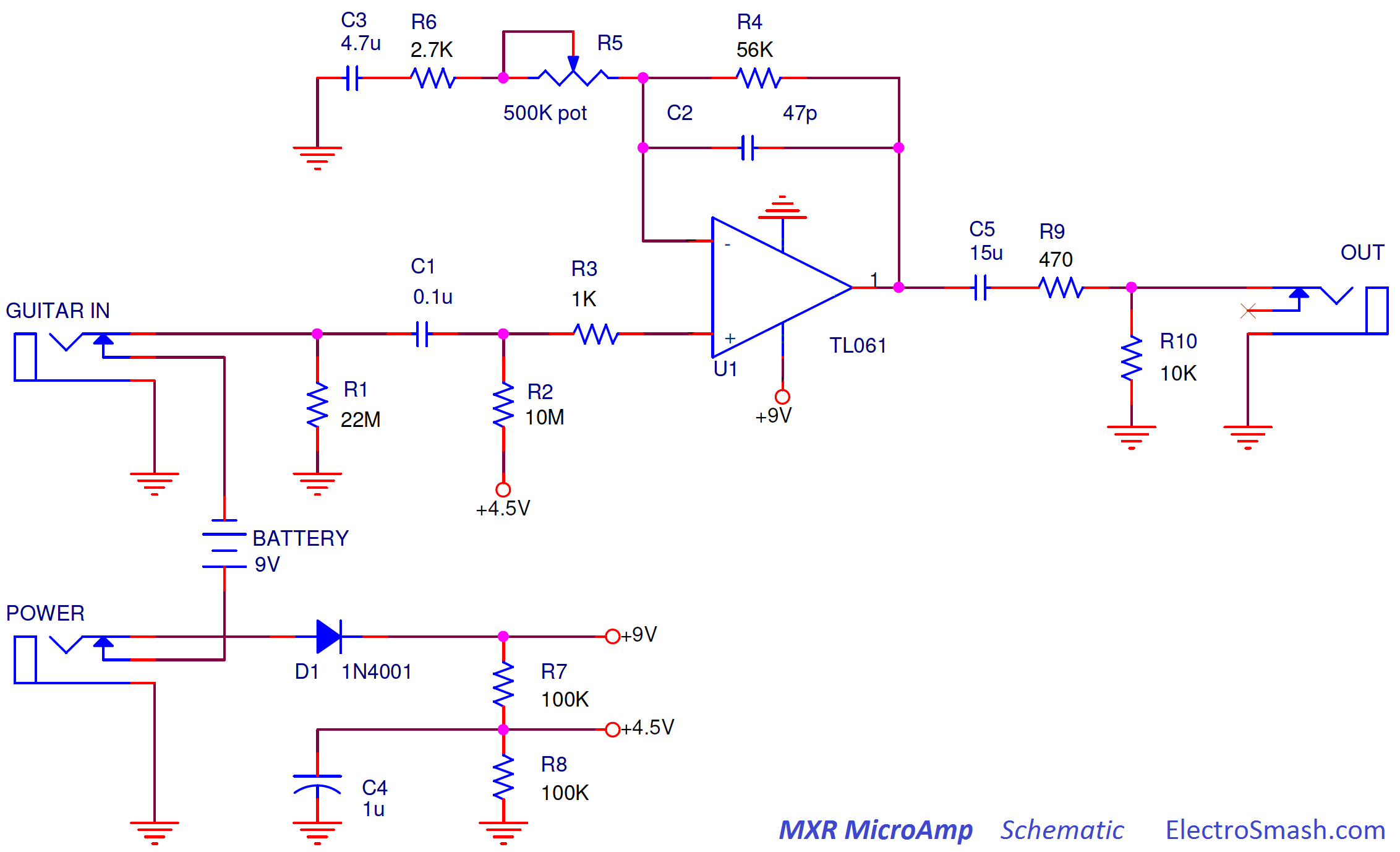 Electrosmash Mxr Microamp Analysis Op Amp Is The Buffer In This Power Supply Circuit Required Micro Can Be Divided Into Two Blocks Stage And Amplifier