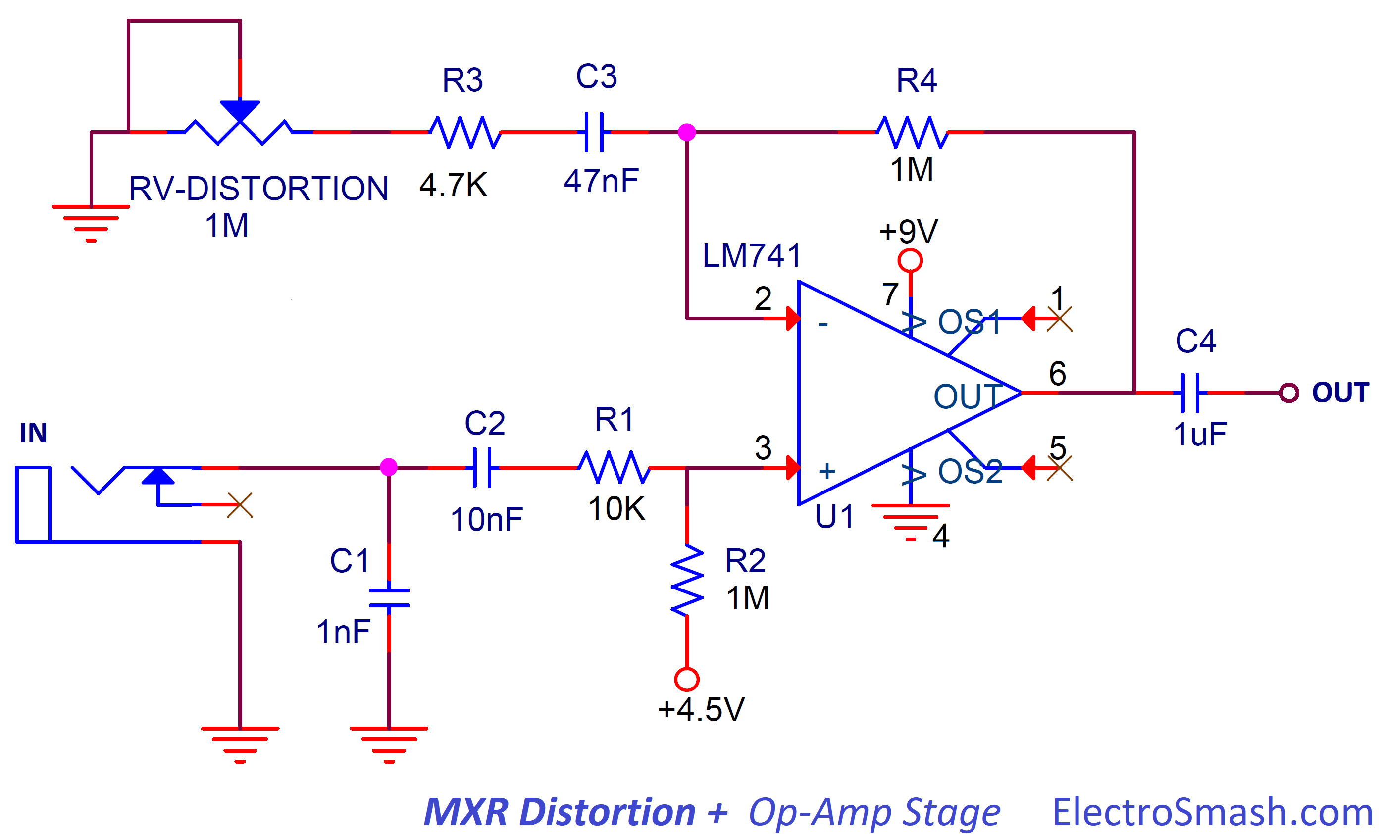 Electrosmash Mxr Distortion Circuit Analysis Note These Circuits Work Best With A High Slew Rate Opamp Such As 12 Op Amp Amplifier Stage