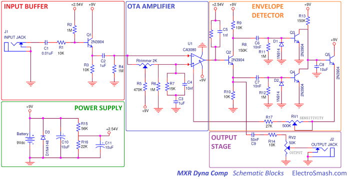 mxr dyna comp schematic parts small