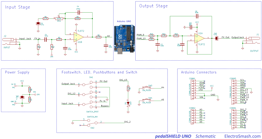 electrosmash pedalshield uno arduino guitar pedal. Black Bedroom Furniture Sets. Home Design Ideas
