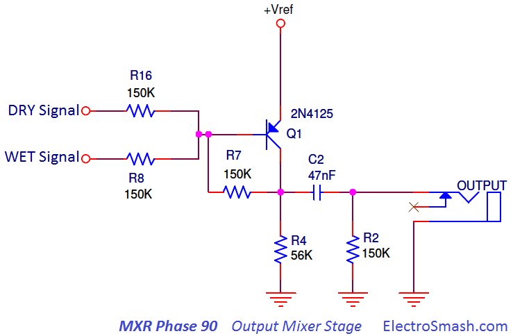 mxr phase 90 output mixer stage