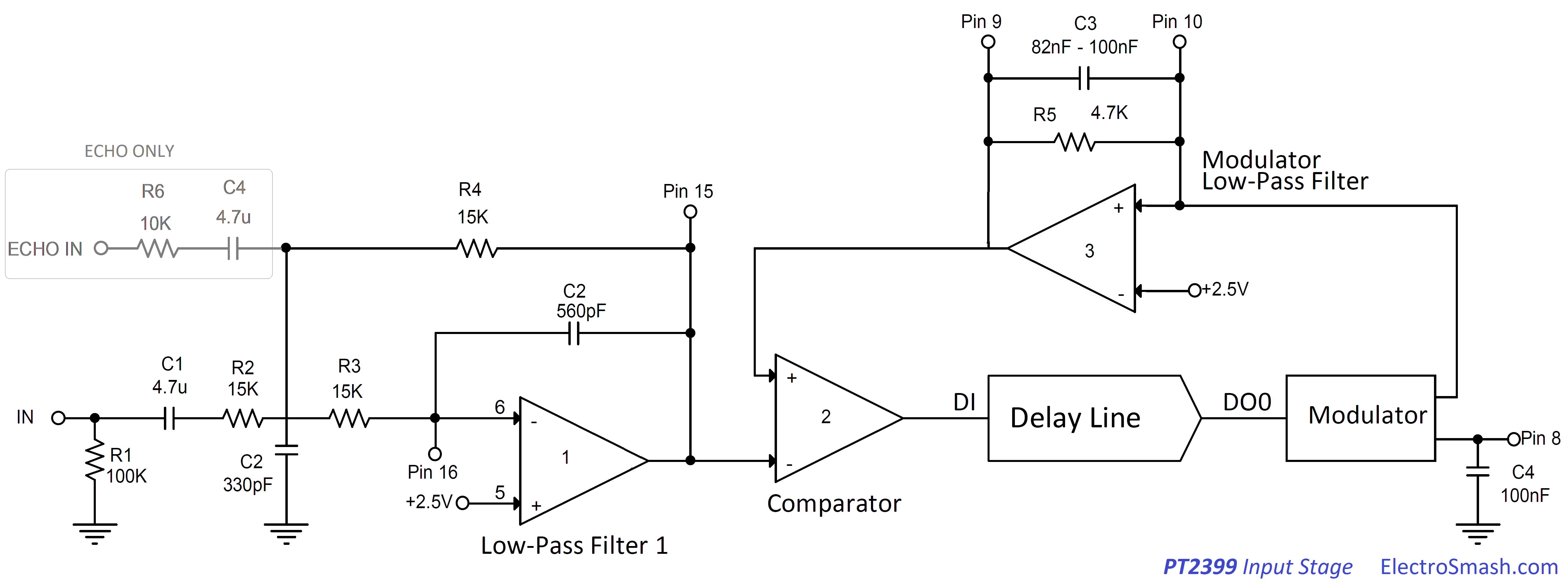Electrosmash Pt2399 Analysis Op Amp Circuit Used As A Virtual Earth Mixer Summing Amplifier Input Stage Small