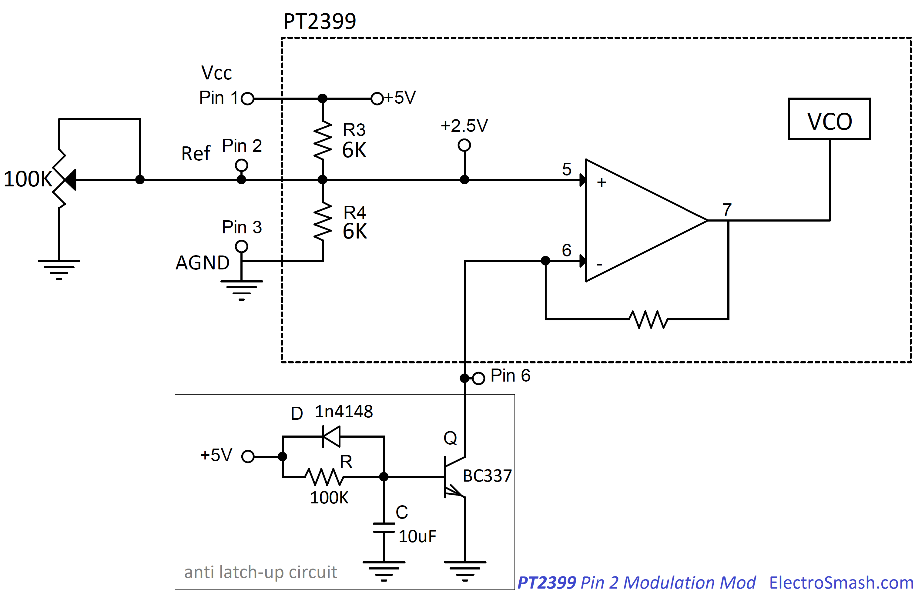 Electrosmash Pt2399 Analysis Lm7805three Terminal Fixed Steady Voltage Integrated Circuit Diagram Pin2 Modulation