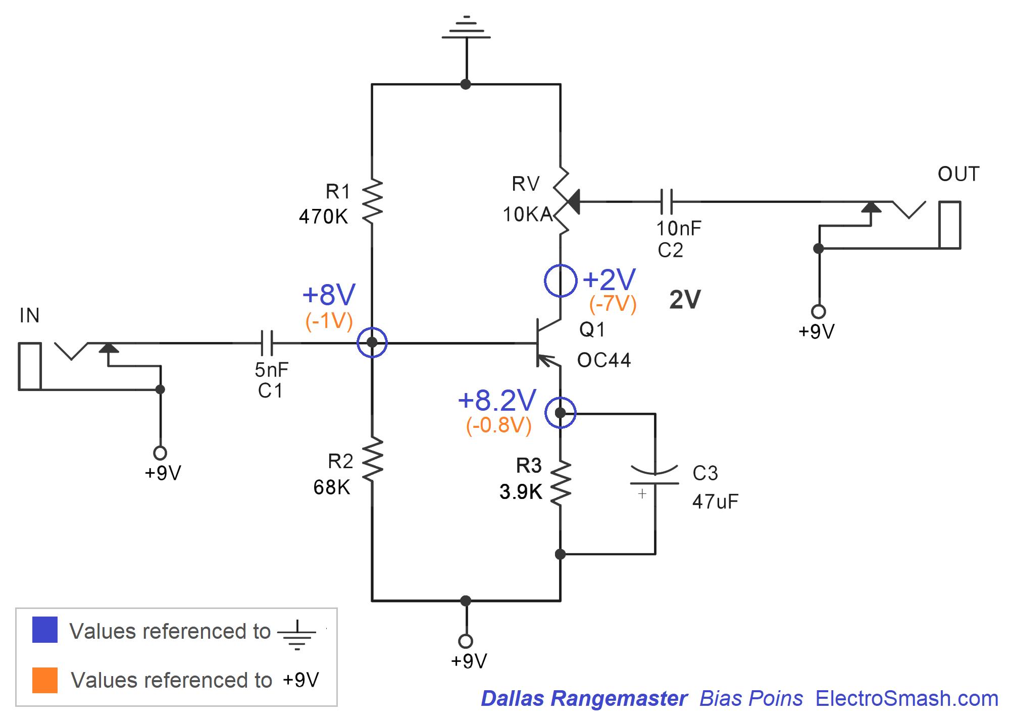 ElectroSmash - Dallas Rangemaster Treble Booster Circuit ... on vintage hofner guitar schematic, bk drive pedal schematic, treble booster schematic, klon centaur schematic, dyson schematic,