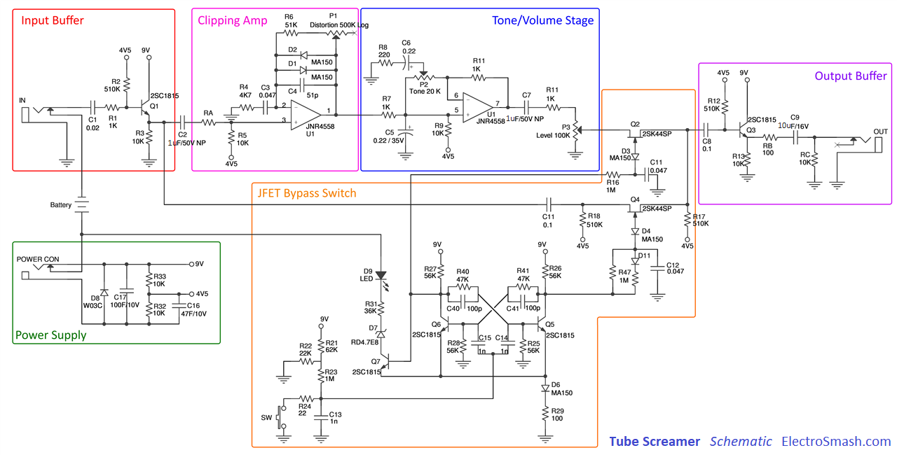 tube screamer block diagram electrosmash tube screamer circuit analysis wiring diagram for distortion pedal at fashall.co
