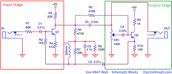 Vox V847 Wah Schematic Blocks